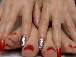 8 min - Red toes masturbation toy